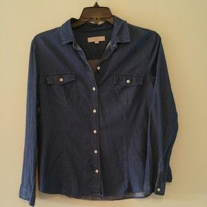 Loft like new denim jean shirt size xl